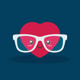 Nerdy heart with glasses on dark background
