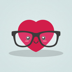 Nerdy heart with glasses on clear background