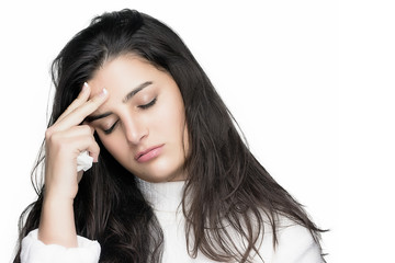 Sick Young Woman with Headache. Flu or Allergy