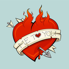 Burning heart with arrow and ribbon, tattoo style
