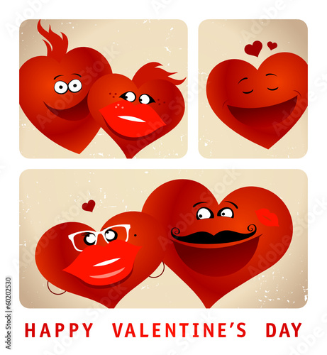 Valentine`s card with series of photo booth funny couple hearts