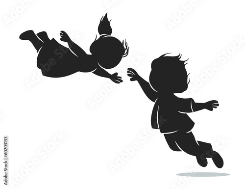 girl and boy in flight