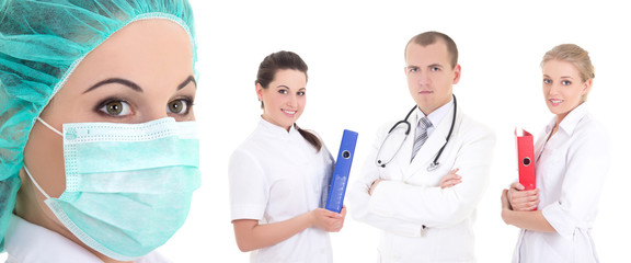 young medical staff standing on white background