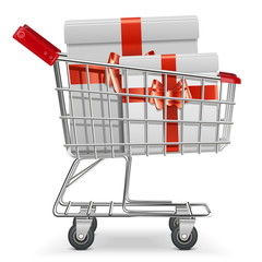 Vector Supermarket Cart with Gifts