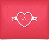 Creative heart white outline with arrow and word love
