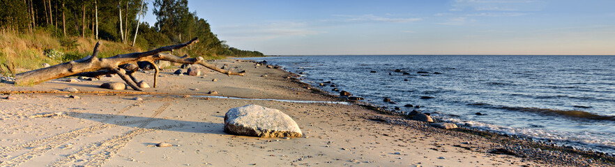Stony beach at the gulf of Riga, Baltic Sea, Latvia