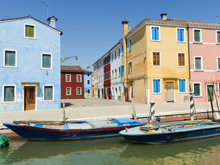 Italy , Venice. Street on the island of Burano