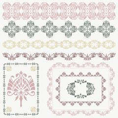 Vector collection of ornamental design elements in retro colors.
