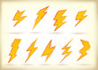 Doodled lightning bolts