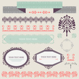 Vector collection of ornamental design elements in retro colors.