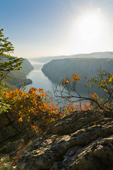 View from the top of the cliffs of Djerdap gorge to river Danube