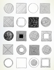 doodled circles and squares