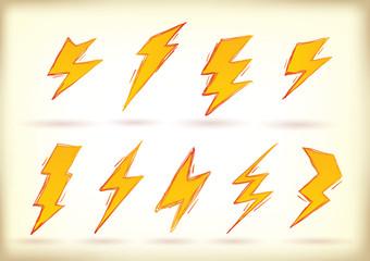 Doodled lightning bolts
