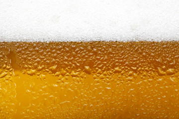 Close-up picture of a beer with foam and bubbles