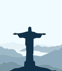 Christ The Redeemer & Landscape - Vector