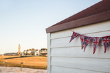Beach hut and bunting