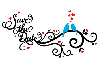save the date, wedding birds, vector
