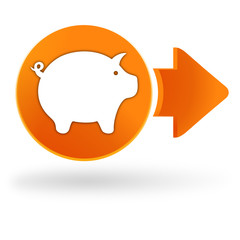 cochon sur symbole web orange