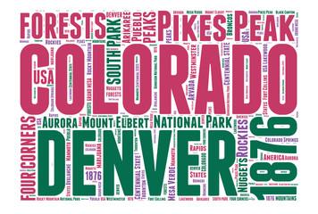 Colorado USA state map tag cloud