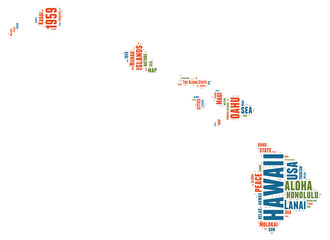 Hawaii USA state map tag cloud