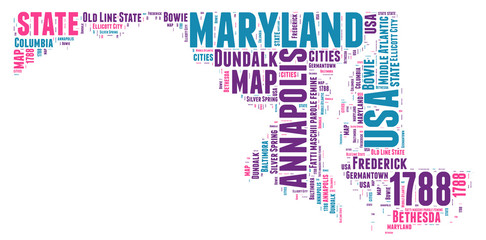 Maryland USA state map tag cloud