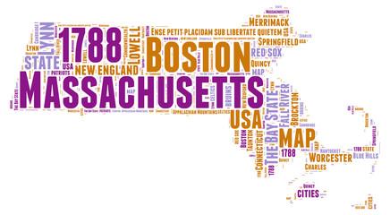 Massachusetts USA state map tag cloud