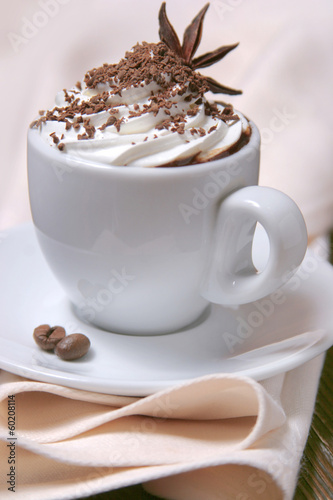 Cup of coffee with whipped cream and anise star