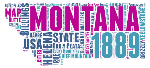 Montana USA state map tag cloud
