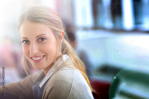 Portrait of beautiful smiling student girl