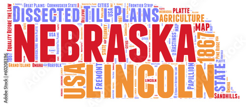 Nebraska USA state map tag cloud