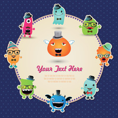 Cute Retro Hipster Monsters Banner. Vector Illustration