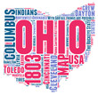 Ohio USA state map tag cloud