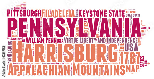 Pennsylvania USA state map tag cloud