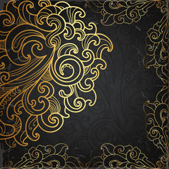 Black card with gold ornament