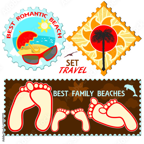 Collection of vacation and travel of labels
