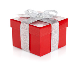 Red gift box with silver ribbon and bow