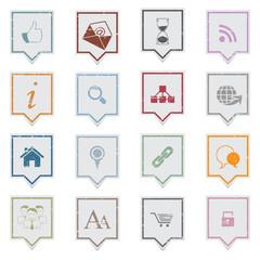 Web icons, grunge labels