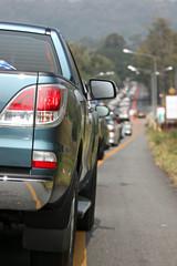 Cars in traffic jam.