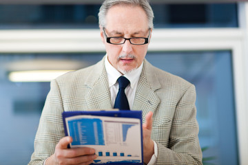 Businessman reading some documents
