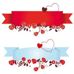 Banderole mit Rosen und Herz
