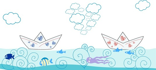 Valentines day greeting card with  paper boat and fish