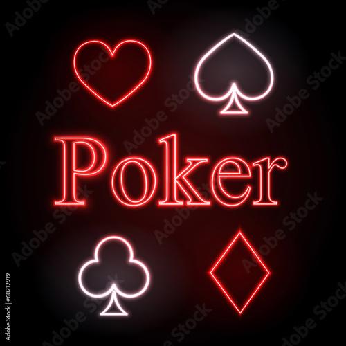 neon sign. Poker