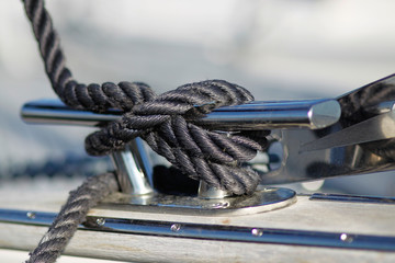 Close-up of mooring knot