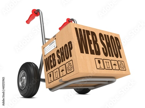 Web Shop - Cardboard Box on Hand Truck.