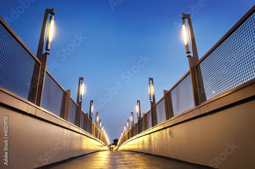 Leinwanddruck Bild Moderne Fußgängerbrücke bei Nacht - Footbridge at Night