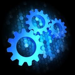 Cogwheel Gear Icon on Digital Background.