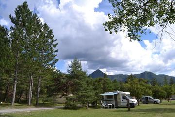 Camper op een Franse camping