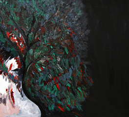Woman and tree, oil painting