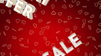 Valentine day sale loop with moving background. Red version.