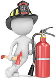 Fire and rescue.Dude the Firefighter with axe and extinguisher.